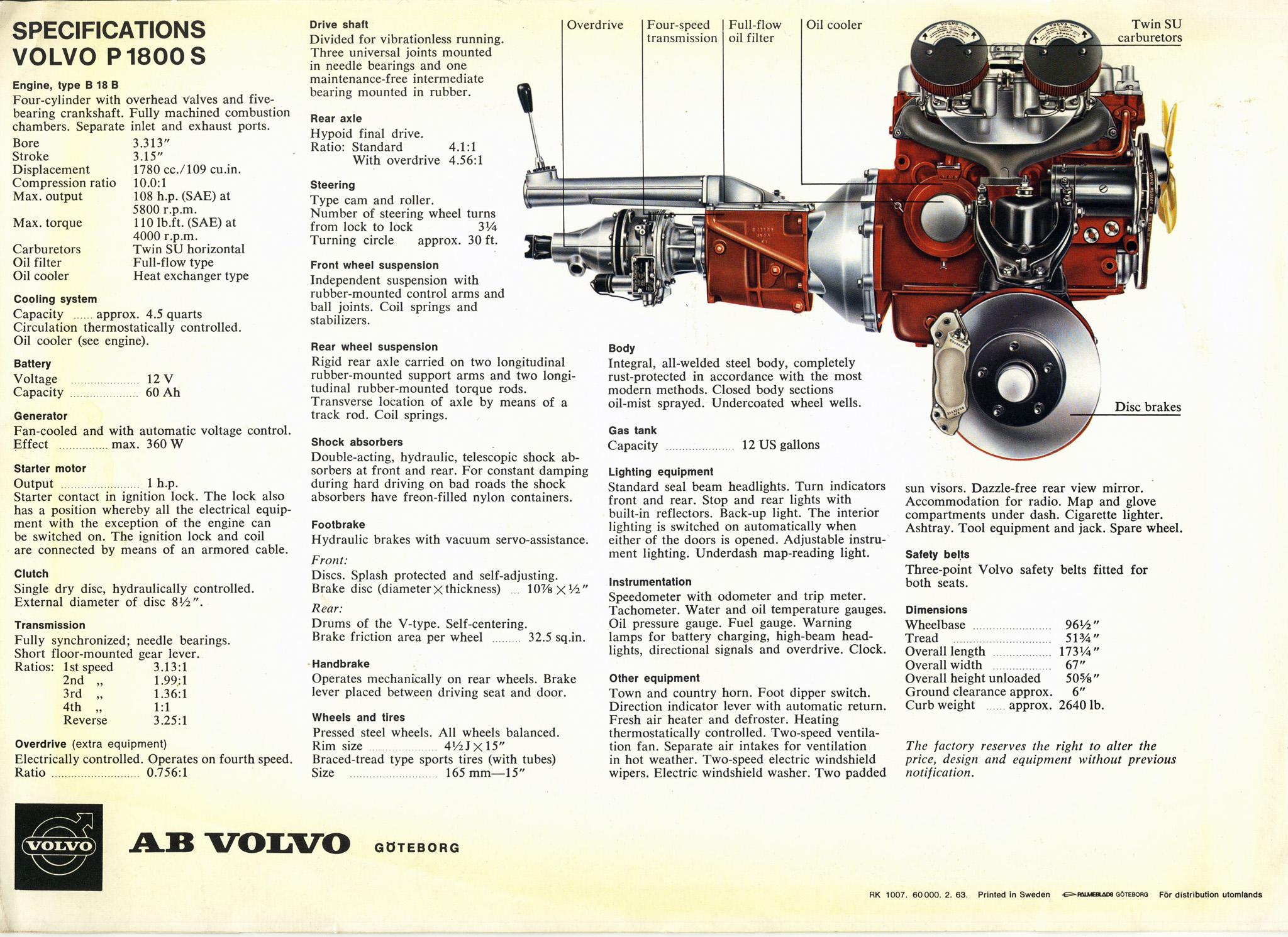 Volvo P1800S brochure, Feb 1963 - page 4