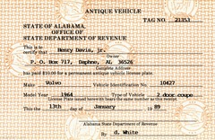 Antique vehicle registration