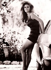 Raquel Welch leaning on a Volvo P1800
